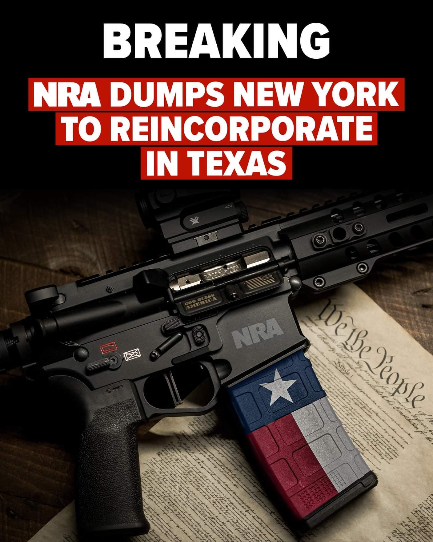 BREAKING NEWS: NRA Dumps New York to... - NRA Institute for Legislative Action   Facebook